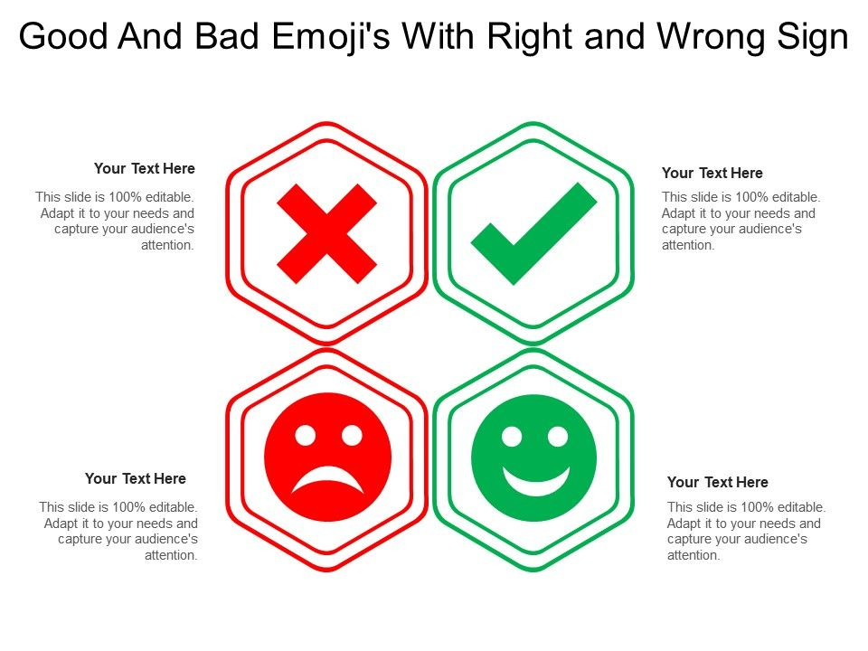 Good And Bad Emojis With Right And Wrong Sign Templates PowerPoint