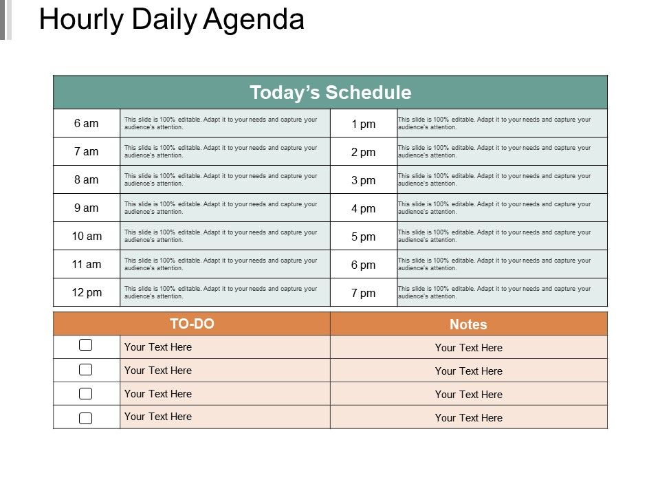 Hourly Daily Agenda Powerpoint Shapes Presentation PowerPoint
