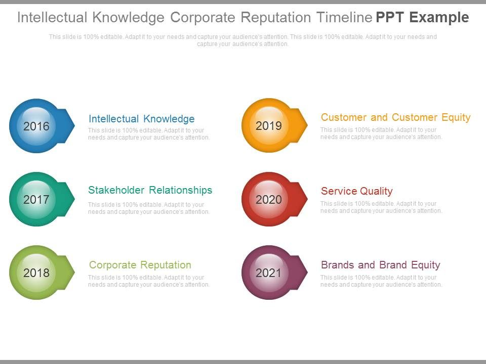 Intellectual Knowledge Corporate Reputation Timeline Ppt Example