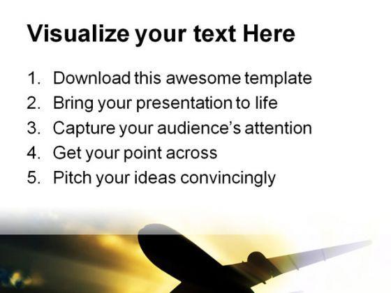Jet Plane Transportation PowerPoint Template 0610 PowerPoint