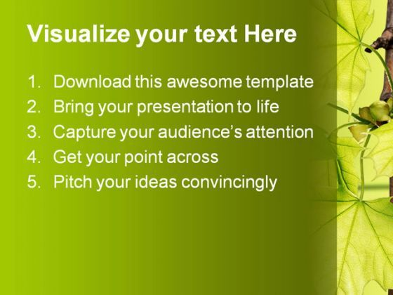 Leaves Green Nature PowerPoint Template 1110 Graphics Presentation