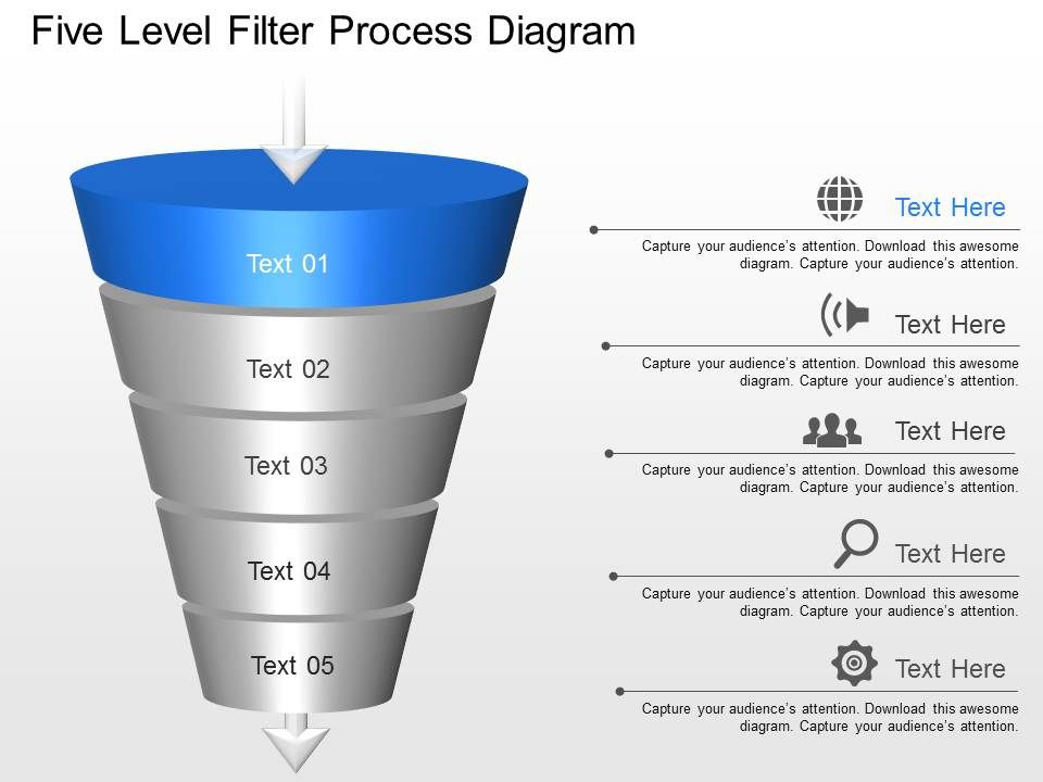 lh Five Level Filter Process Diagram Powerpoint Template