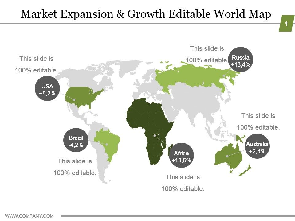 Market Expansion And Growth Editable World Map Ppt Model