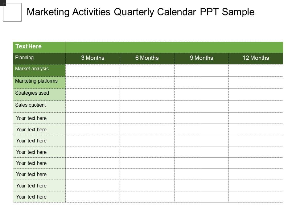 Marketing Activities Quarterly Calendar Ppt Sample PowerPoint