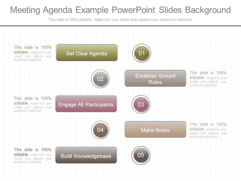 Original Meeting Agenda Example Powerpoint Slides Background