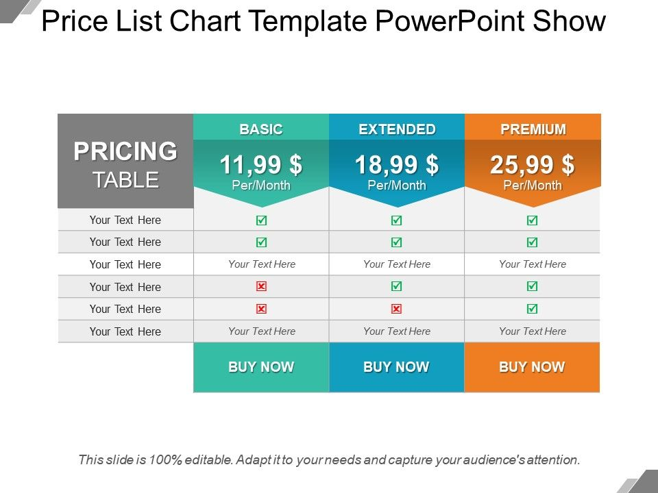 Price List Chart Template Powerpoint Show Templates PowerPoint