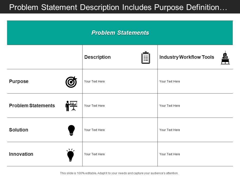 Problem Statement Description Includes Purpose Definition Solution