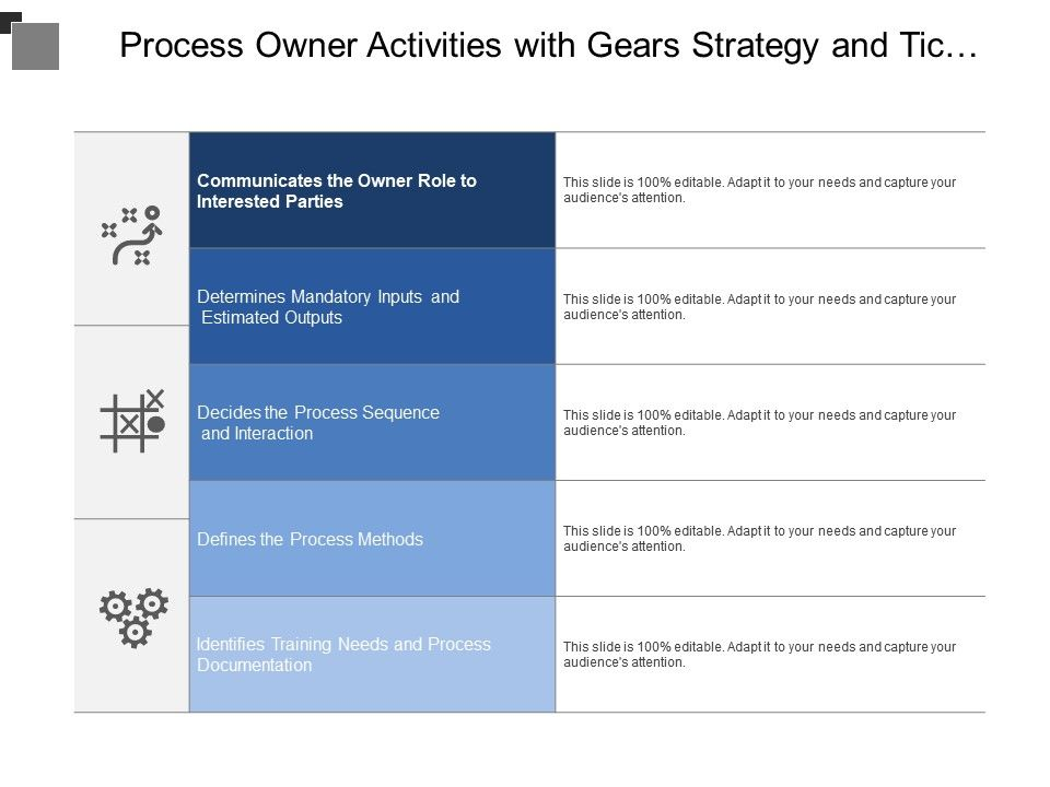 Process Owner Activities With Gears Strategy And Tic Tac Toe