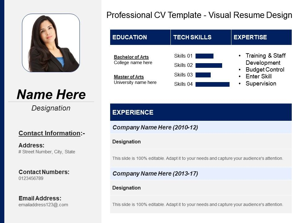 Professional Cv Template Visual Resume Design PowerPoint Shapes