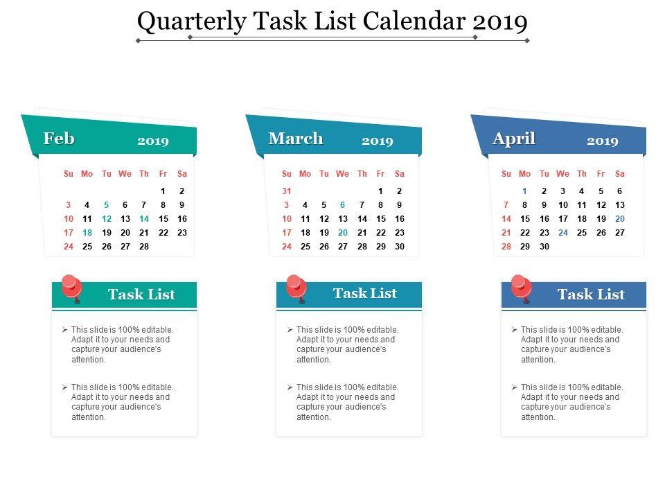 Quarterly Task List Calendar 2019 PowerPoint Slide Templates