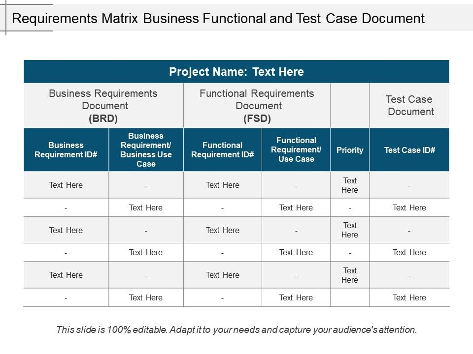 Requirements Matrix Business Functional And Test Case Document