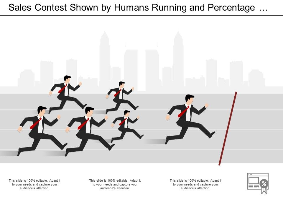 Sales Contest Shown By Humans Running And Percentage Medal