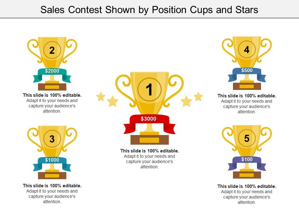 Sales Contest Shown By Position Cups And Stars PowerPoint