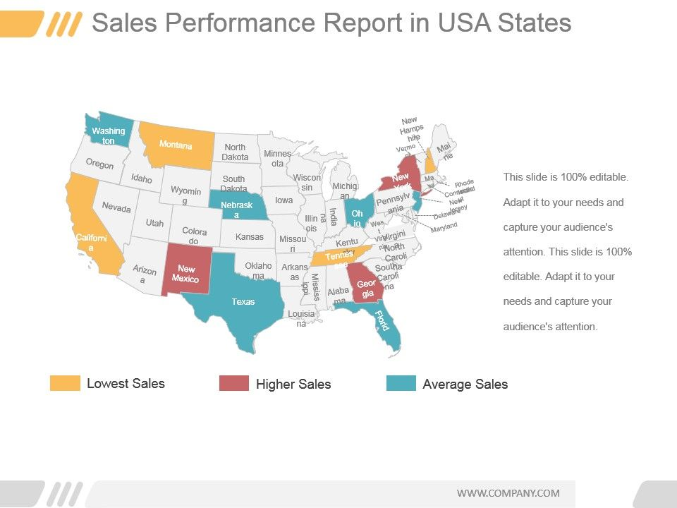 Sales Performance Report In Usa States Ppt Sample PowerPoint