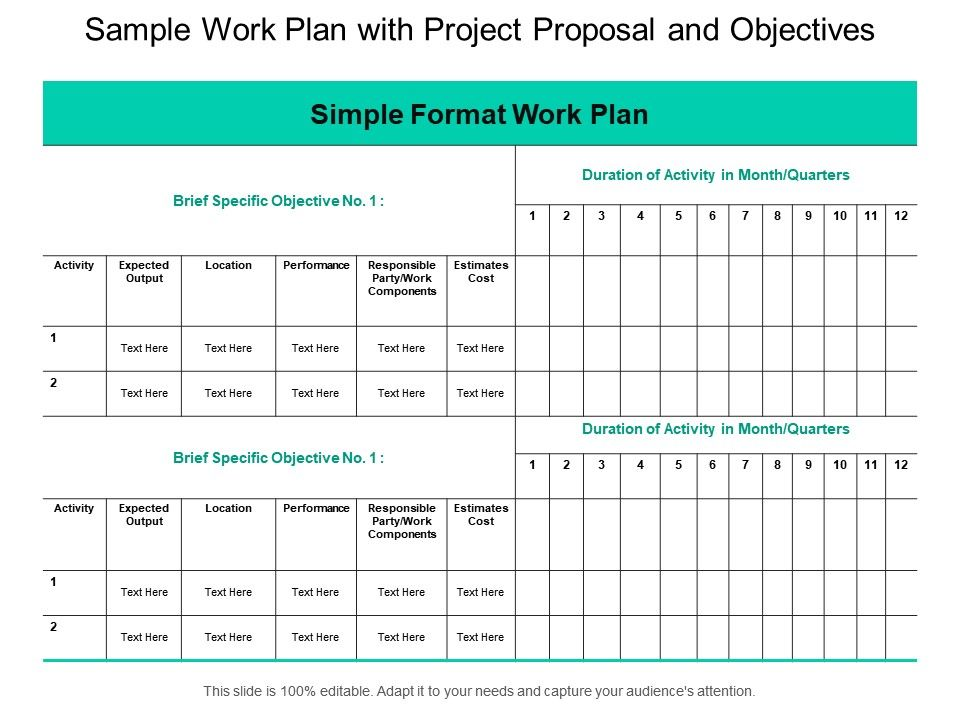 Sample Work Plan With Project Proposal And Objectives PowerPoint