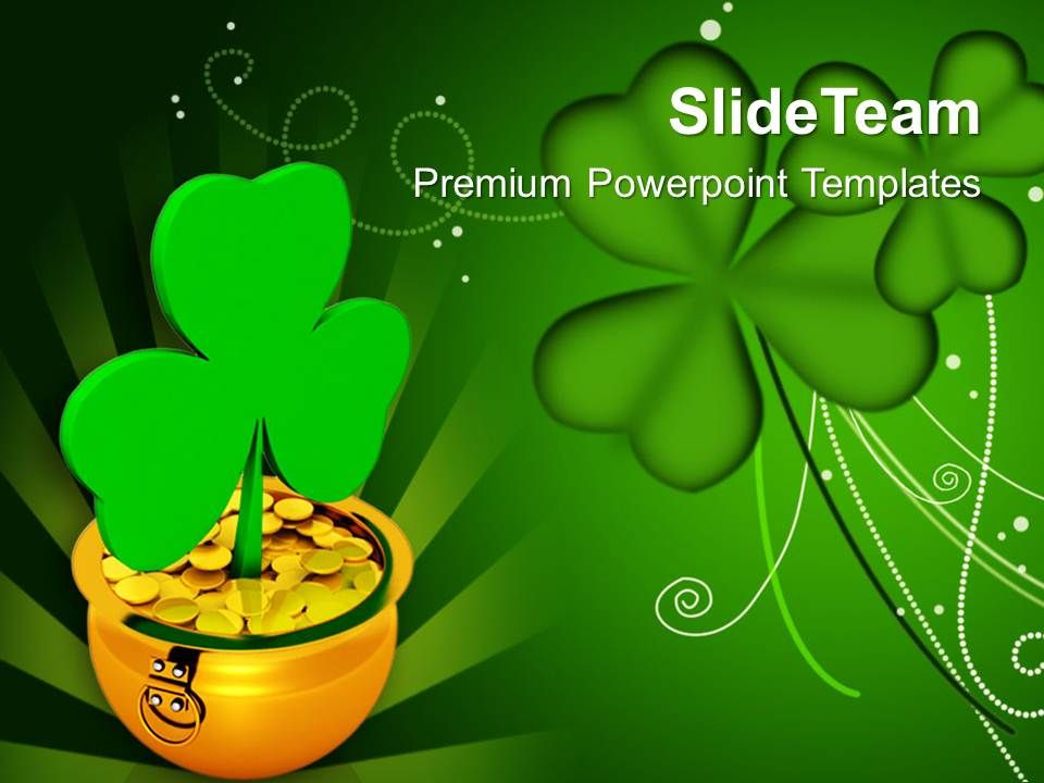 St Patricks Day Shamrock With Gold Coins Green Background Templates