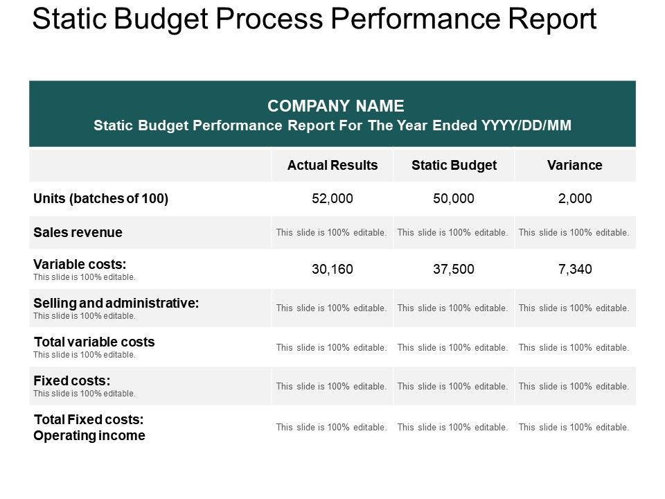 Static Budget Process Performance Report Ppt Example PowerPoint