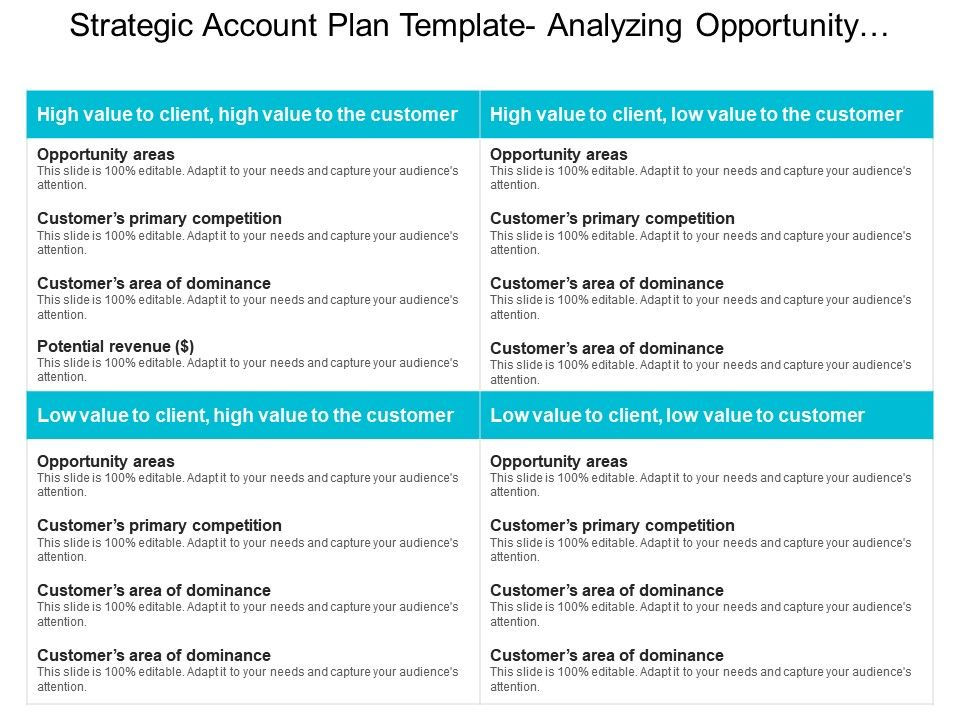 Strategic Account Plan Template Analyzing Opportunity Areas Ppt