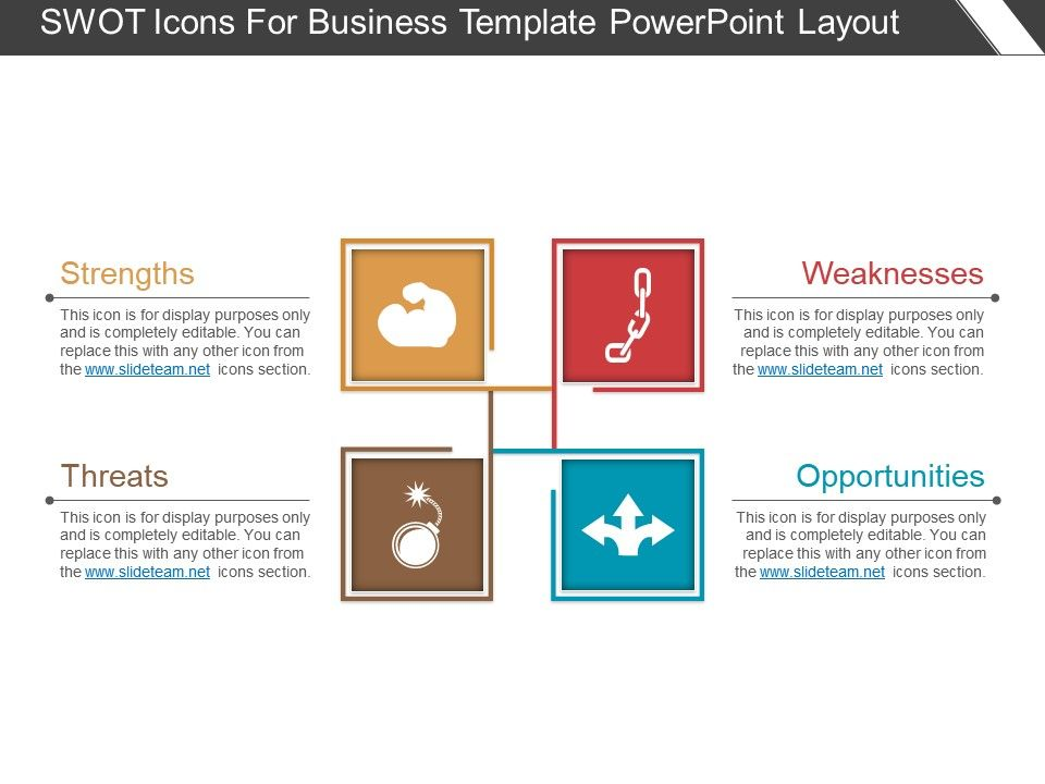 Swot Icons For Business Template Powerpoint Layout Presentation
