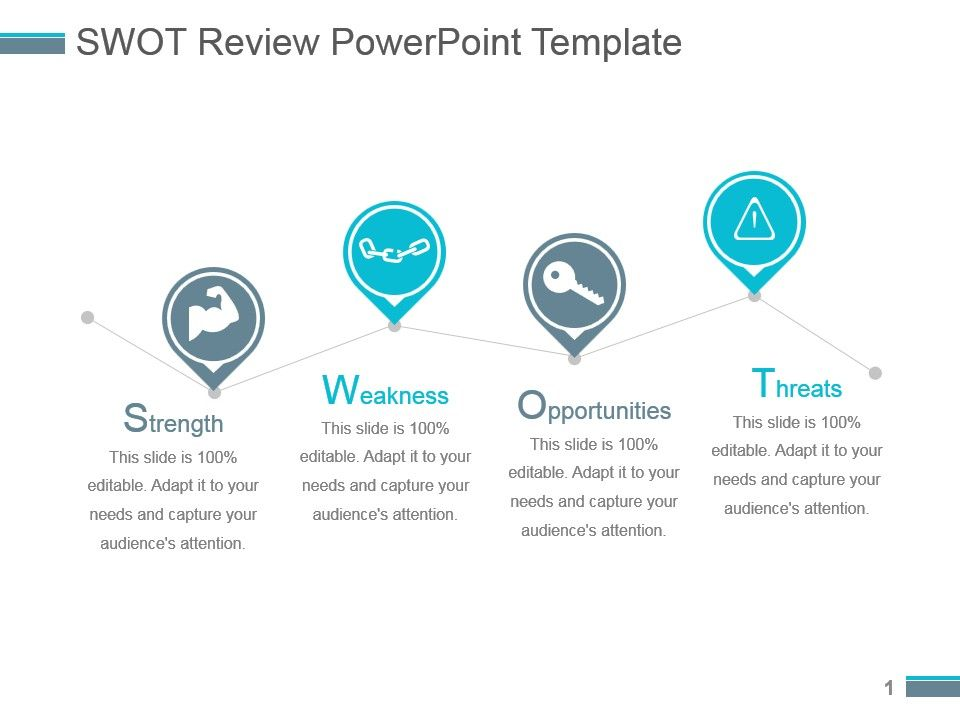Swot Review Powerpoint Template PowerPoint Slides Diagrams