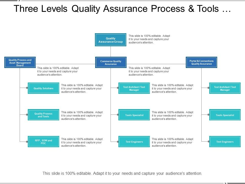 Three Levels Quality Assurance Process And Tools Org Chart
