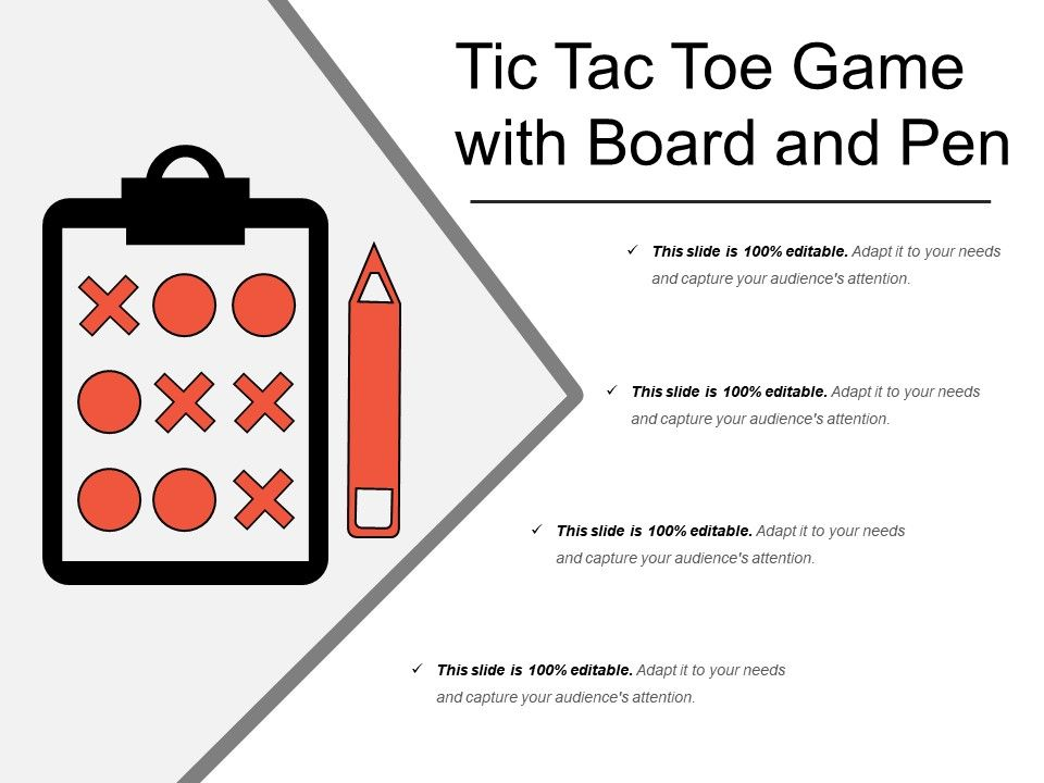Tic Tac Toe Game With Board And Pen Template Presentation Sample