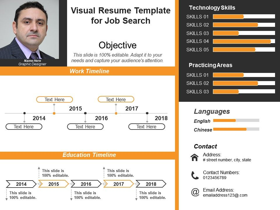 Visual Resume Template For Job Search 1 PowerPoint Presentation