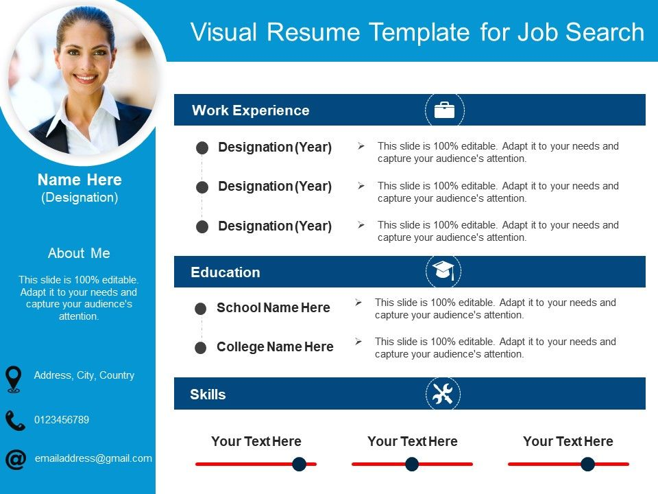 Visual Resume Template For Job Search 2 PowerPoint Slides Diagrams