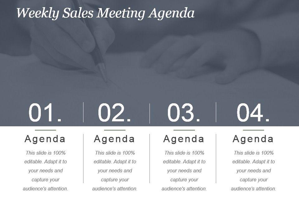 Weekly Sales Meeting Agenda Powerpoint Slide Presentation Sample