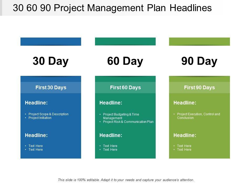 30 60 90 Project Management Plan Headlines PowerPoint Templates