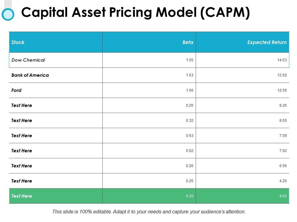 Capital Asset Pricing Model Ppt Powerpoint Presentation Diagram
