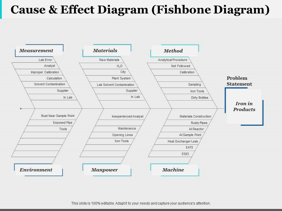 Cause Effect Diagram Fishbone Diagram Ppt Infographic Template
