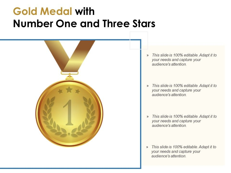 Gold Medal With Number One And Three Stars PowerPoint Slide