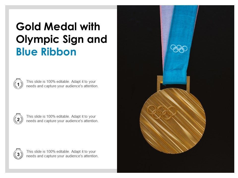 Gold Medal With Olympic Sign And Blue Ribbon PowerPoint