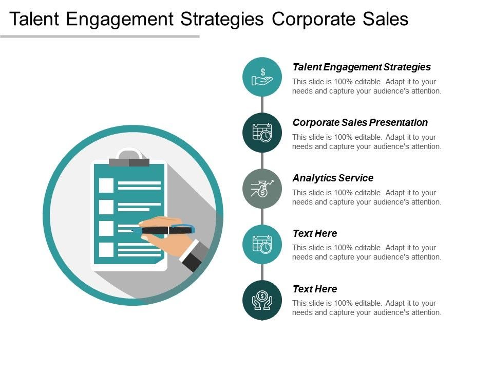 Talent Engagement Strategies Corporate Sales Presentation Analytics