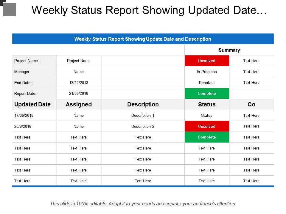 weekly report ppt