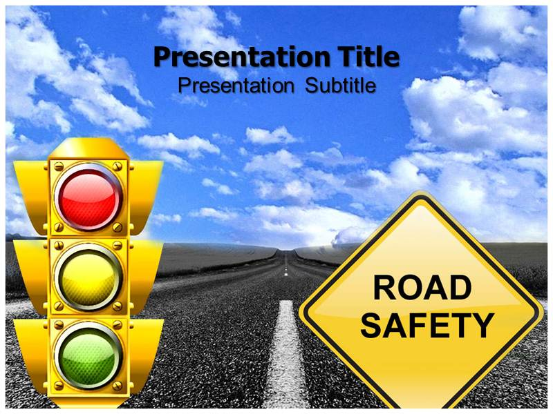 Road Safety Tips PowerPoint Template, PowerPoint Slides, PowerPoint