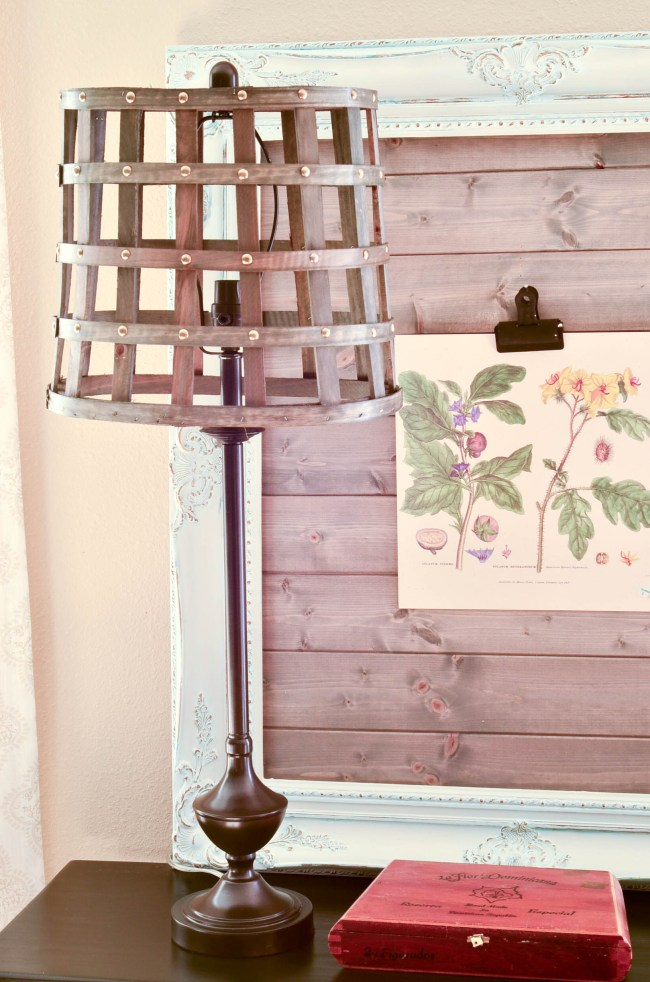 A Lamp Makeover with Before and After. A knock off of a way more expensive lamp and you won't believe what the shade is.