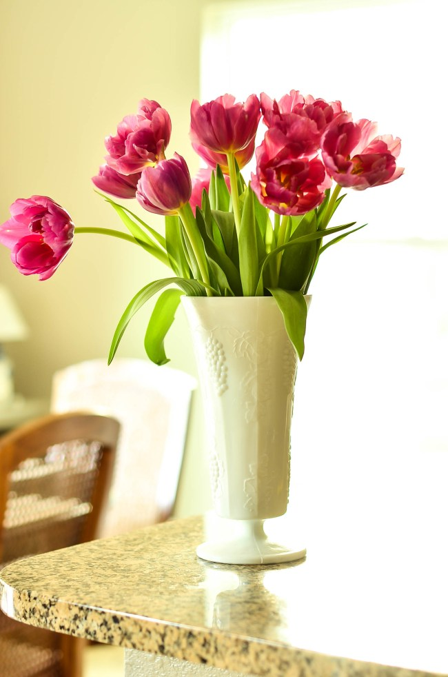 Slightly Coastal-My milk glass collection. Flower arrangement in milk glass