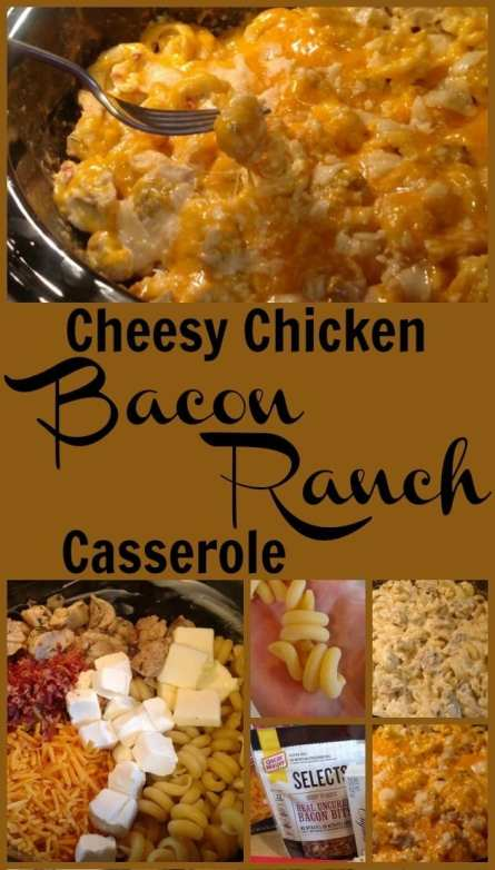 Cheesy Chicken Bacon Ranch Casserole! Find this & more deliciousness @ http://www.slowcookerkitchen.com