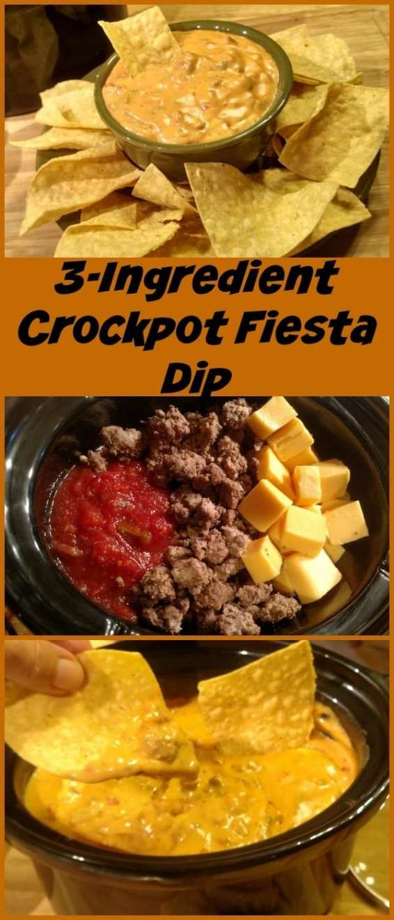 3 Ingredient Crockpot Fiesta Dip! Find this & more @ http://www.slowcookerkitchen.com