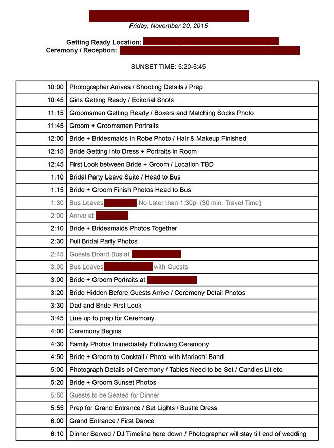 Putting Together a Wedding Day Timeline That Works - sample timeline