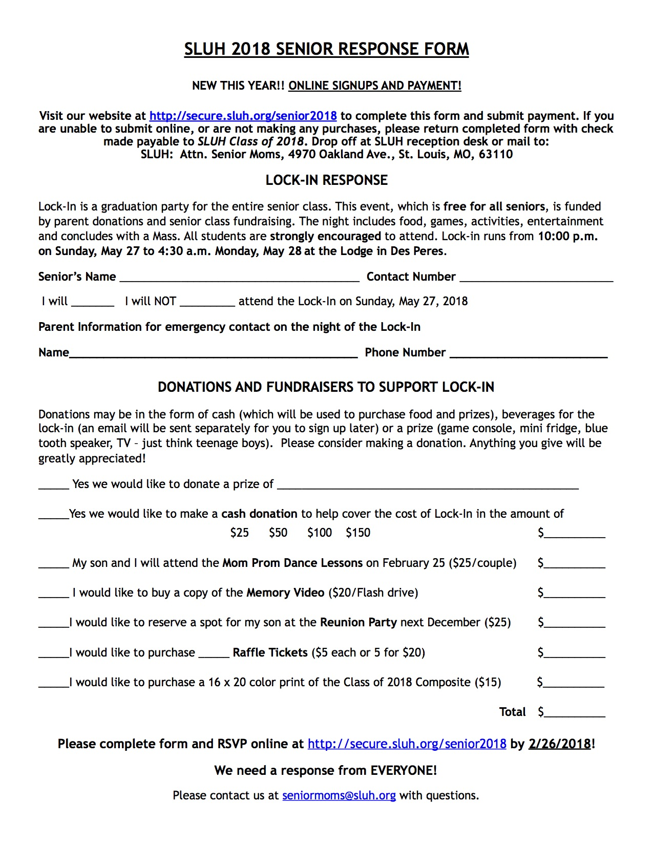 Engrossing Senior Response Form Senior Information St Louis University School Graduation Party Games Pdf Graduation Party Games Preschool art Graduation Party Games