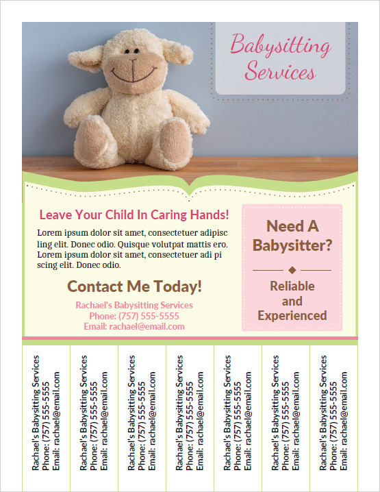babysitter flyer examples