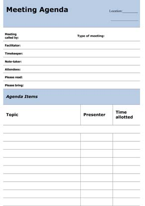 Sample Business Meeting Agenda - Small Business Free Forms