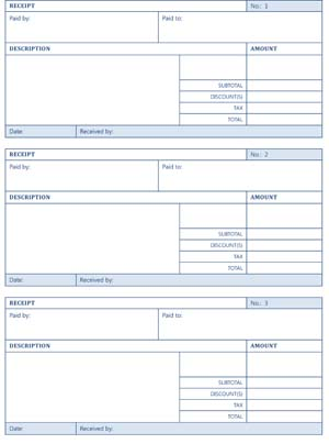 Printable Cash Receipts - Small Business Free Forms - Cash Recepit
