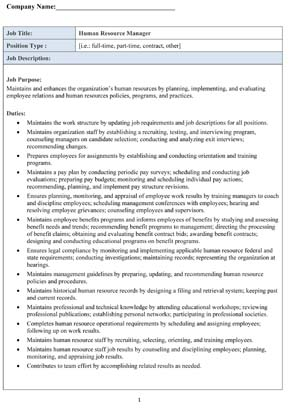 Sample Human Resource Manager Job Description - Small Business Free