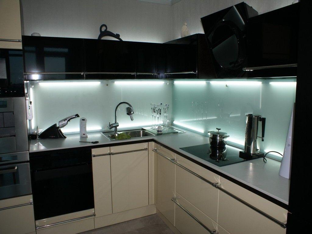 modern kitchens glass backsplash design glass backsplash kitchen Black modern kitchens design with skinali backsplash and neon lighting