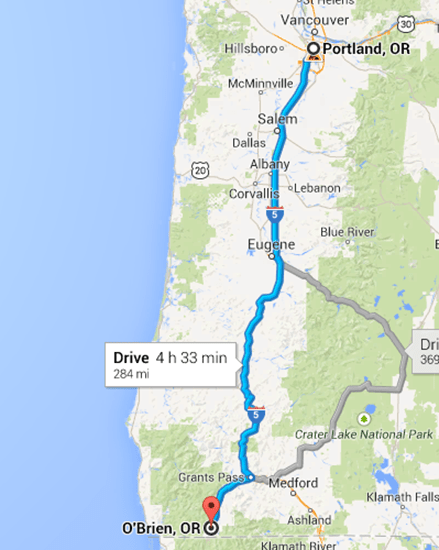 RV trip route Oregon