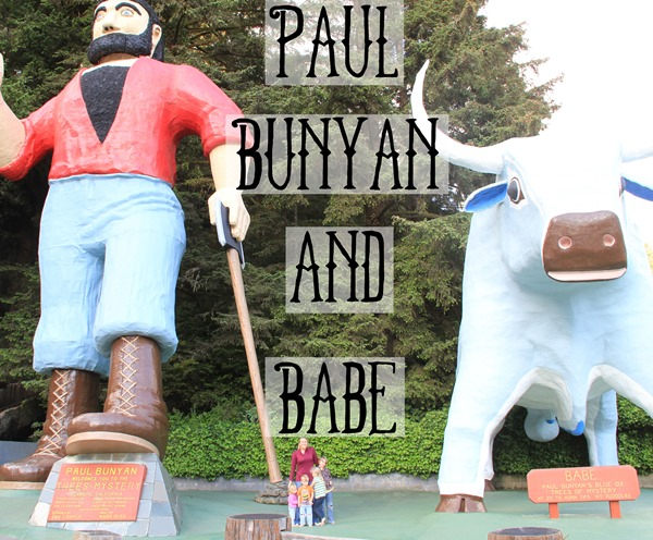 Giant statues of Paul Bunyan and Babe